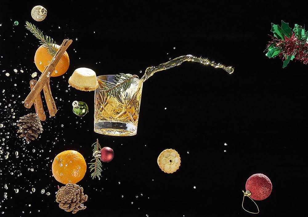 Profoto D2 Christmas ingredients whisky ice dram scotch ice photography